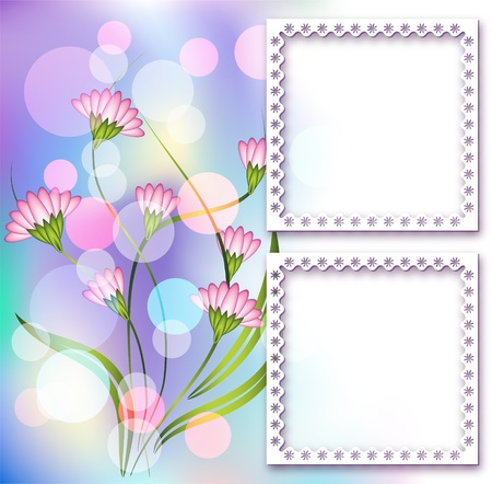 Page layout photo album with floral ornament Vector