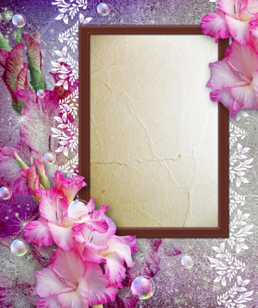 snapshot: Old grunge background with photo frame and gladiolus Stock Photo