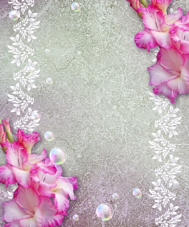 bubble sheet: Old grunge background with gladiolus