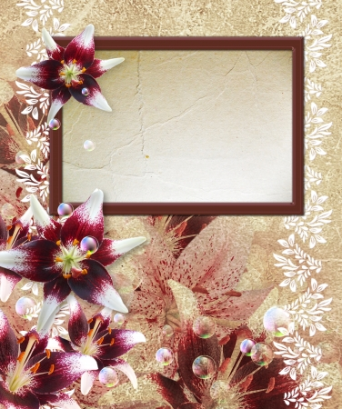 bubble sheet: Old grunge background with photo frame and lily