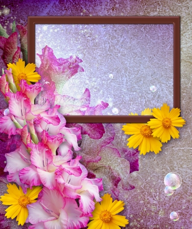 bubble sheet: Old grunge background with photo frame and gladiolus   Stock Photo