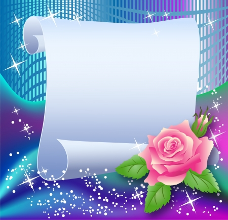 Magic background with paper, rose and a place for text Vector