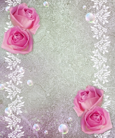 Old grunge background with roses photo