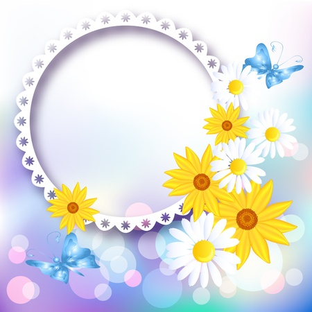 transparent brush: Page layout photo album with flowers Illustration