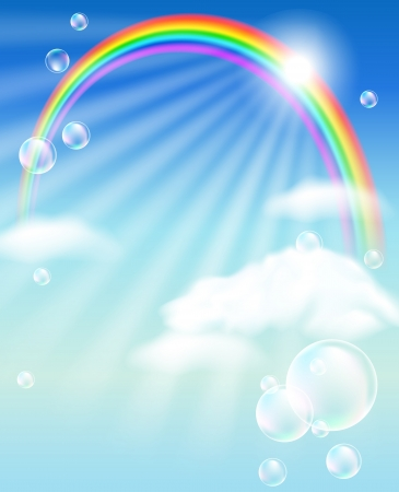 Rainbow, sky, clouds, bubbles  and  sunshine Vector