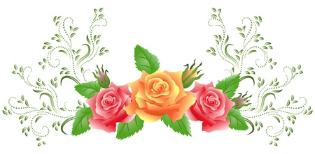 Pink and yellow roses with green floral ornament Stock Vector - 14123038
