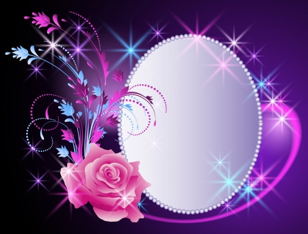 Glowing background with billboard and flowers ornament Vector