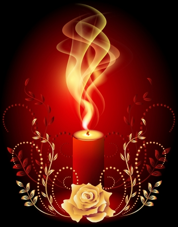 Burning candle with smoke and golden ornament Stock Vector - 14123051