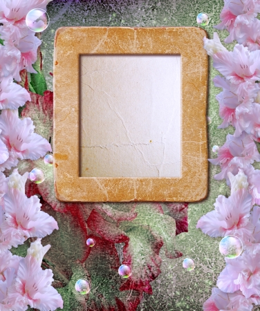 flower border pink: Old grunge background with photo frame with gladiolus   Stock Photo