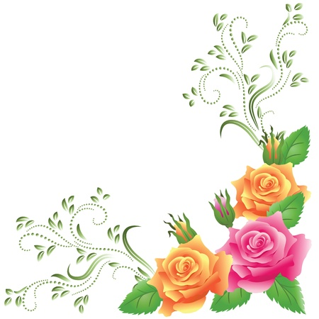 Pink and yellow roses with green floral ornament Vector