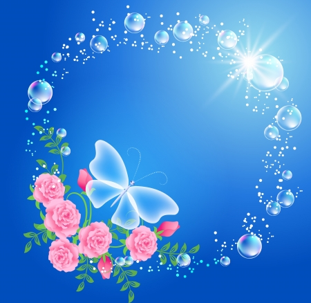 Butterfly, bubbles and roses Vector