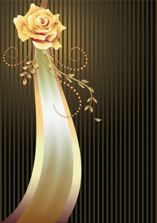 Striped background with elegant  ribbon and golden rose Vector