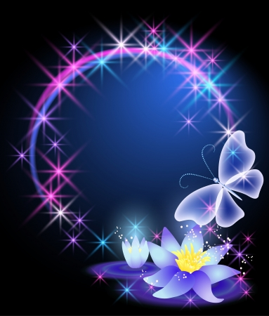 Magic lilies and butterfly Vector