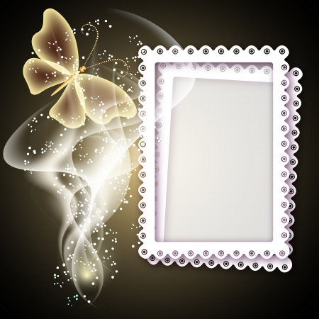 photographic effects: Background with photo frame, butterfly and smoke for inserting text and photo