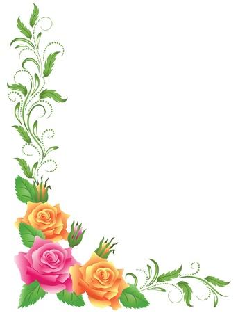 borde de flores: Las rosas rosadas y amarillas con adornos florales verdes