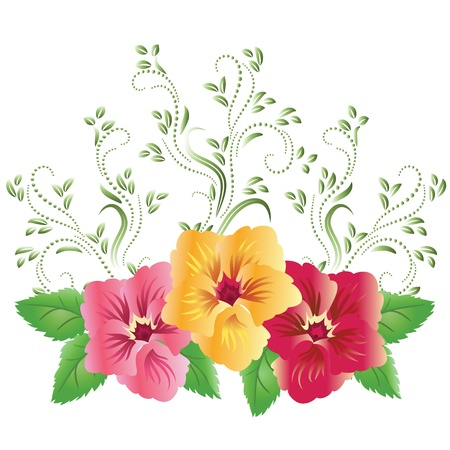 Pansies with green floral ornament Vector
