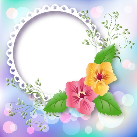 Page layout photo album with pansies Vector