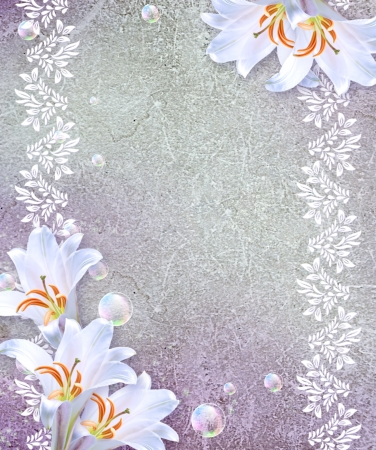 Old grunge background with white lily photo