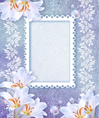 Old grunge background with white lily and openwork frame photo