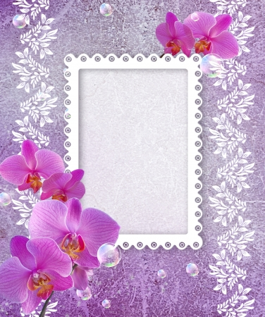 Old grunge background with white orchid and openwork frame Stock Photo - 14270977