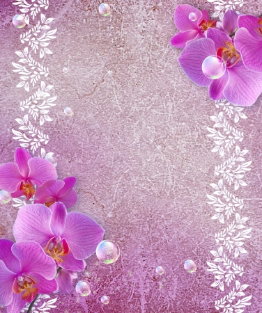 Old grunge background with white orchid and openwork frame photo