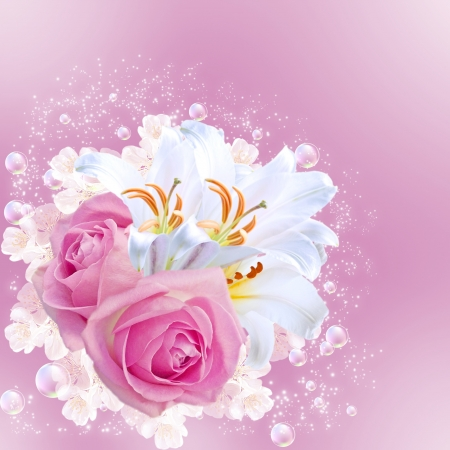 Card with pink roses and white lilies photo