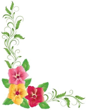 flores en esquina: Pensamientos de color rosa y amarillo con adornos florales verdes