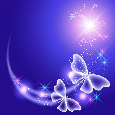 Gloeiende achtergrond met vlinders en sterren Stockfoto - 14311436