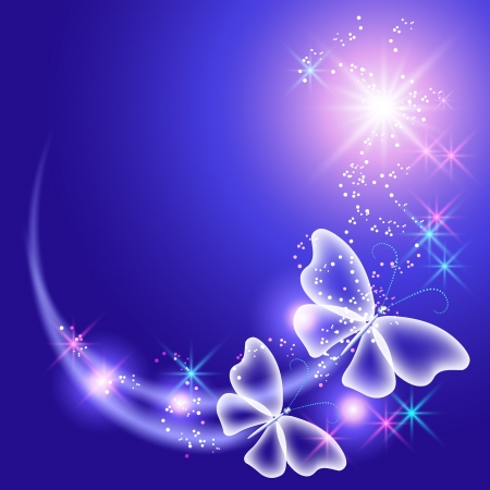 Glowing background with butterflies and stars Vector