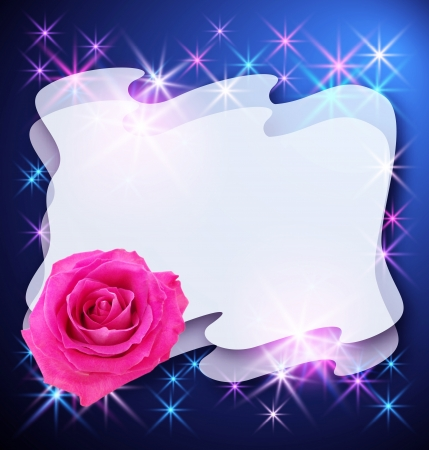 Glowing background with rose and stars for text or photo photo