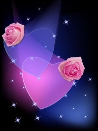 Luminous background with two hearts and roses photo