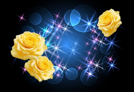 Background with glowing stars and roses photo