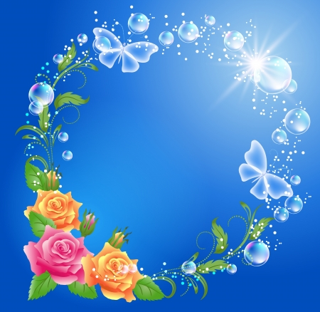 Roses, butterflies and bubbles   Vector