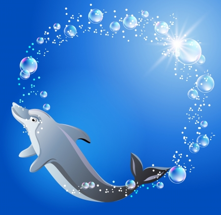 Dolphin swims in the water with air bubbles    Vector