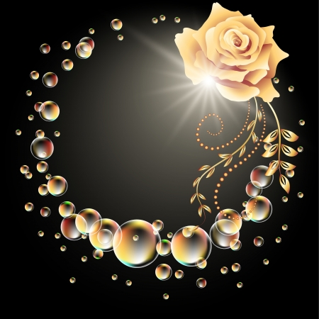 Glowing background with rose, star and bubbles Stock Vector - 14404897