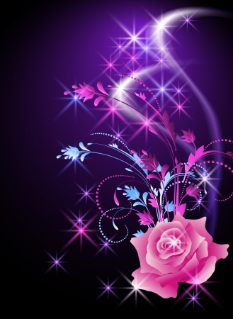rose: Glowing background with rose and stars