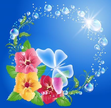 Pansies, butterfly and bubbles Vector