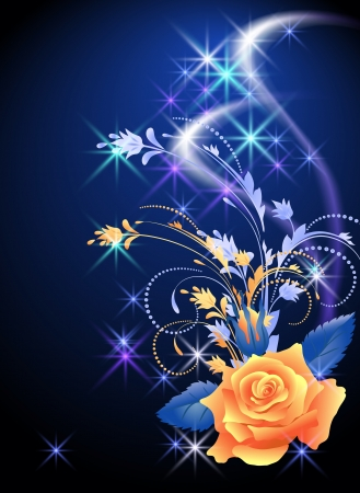 Glowing background with rose and stars