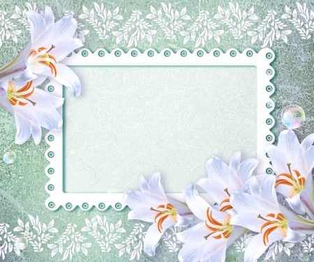 openwork: Old grunge background with white lily and openwork frame Stock Photo