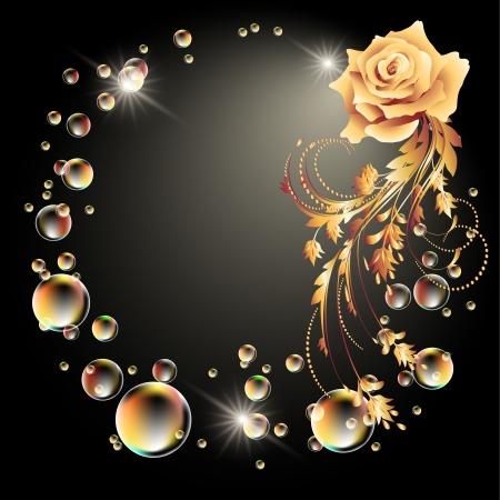 Gloeiende achtergrond met roos, ster en bellen Vector Illustratie