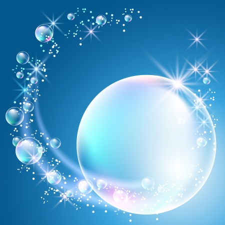 Glowing background with bubbles and stars Vector