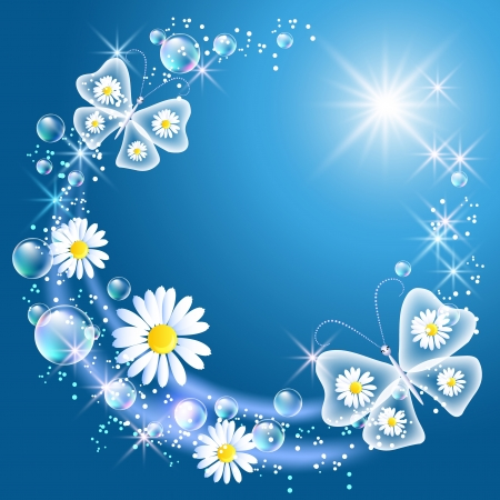 Butterflies and daisy in the sky Vector