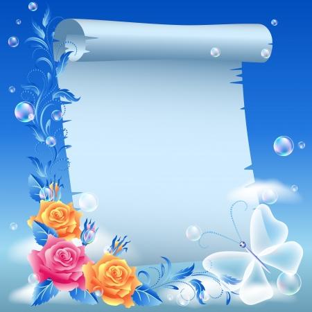 천국: 하늘에 양피지와 꽃 일러스트
