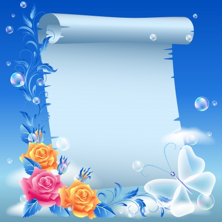 Parchment and flowers in the sky Stock Vector - 14567985