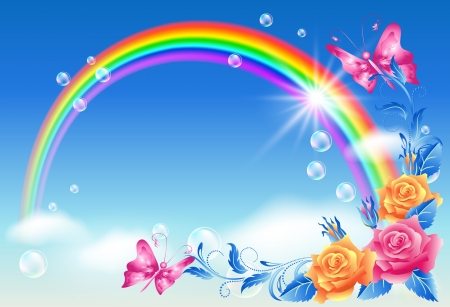 虹、バラと蝶