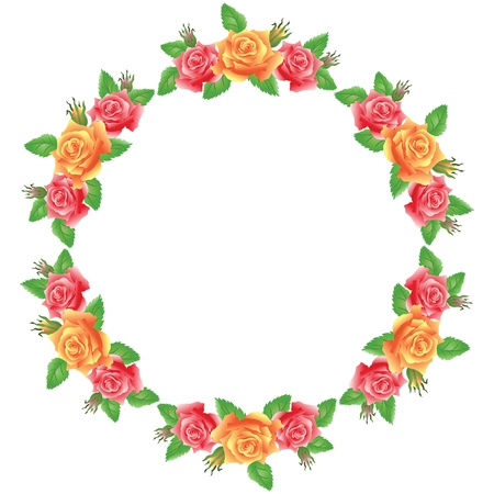 Flowers round frame Stock Vector - 14567981