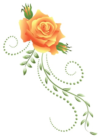 Yellow rose with green floral ornament Stock Vector - 14572053