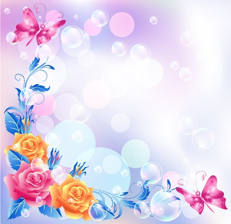 rose butterfly: Floral background with boke
