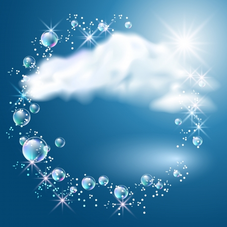Sky, clouds, bubbles  and  sunshine