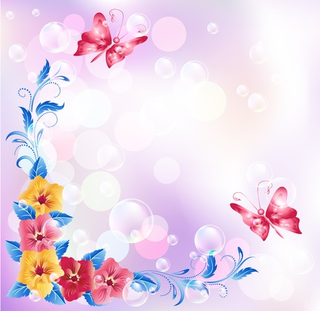 pansies: Floral background with boke